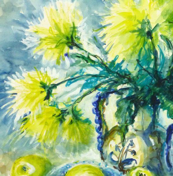 Watercolor Still Life - Apples & Mums, Circa 1960-detail 2-10715M
