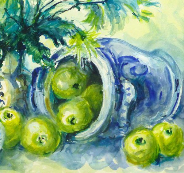 Watercolor Still Life - Apples & Mums, Circa 1960-detail-10715M