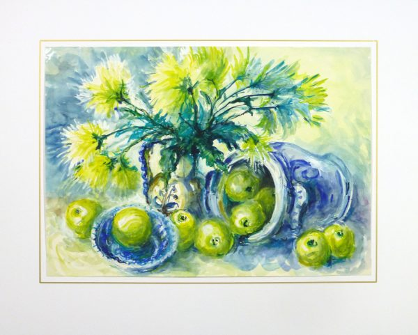 Watercolor Still Life - Apples & Mums, Circa 1960-matted-10715M