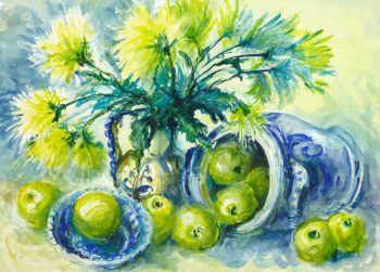 Watercolor Still Life - Apples & Mums, Circa 1960-main-10715M
