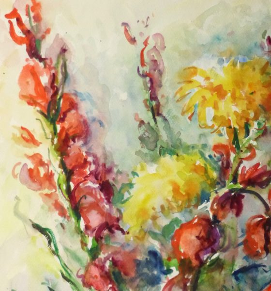 Watercolor Still Life - Brilliant Bouquet, Circa 1960-detail 2-10716M