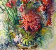 Watercolor Still Life - Brilliant Bouquet, Circa 1960-detail-10716M
