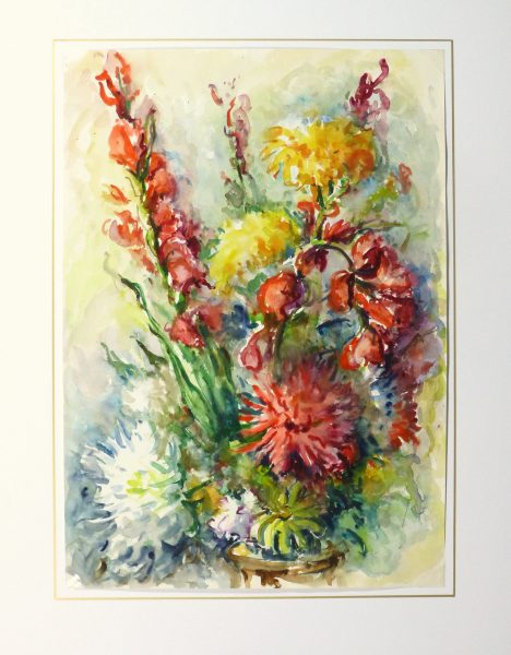 Watercolor Still Life - Brilliant Bouquet, Circa 1960-matted-10716M