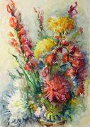 Watercolor Still Life - Brilliant Bouquet, Circa 1960-main-10716M