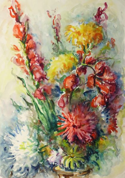 Watercolor Still Life - Brilliant Bouquet, Circa 1960-main-10716M