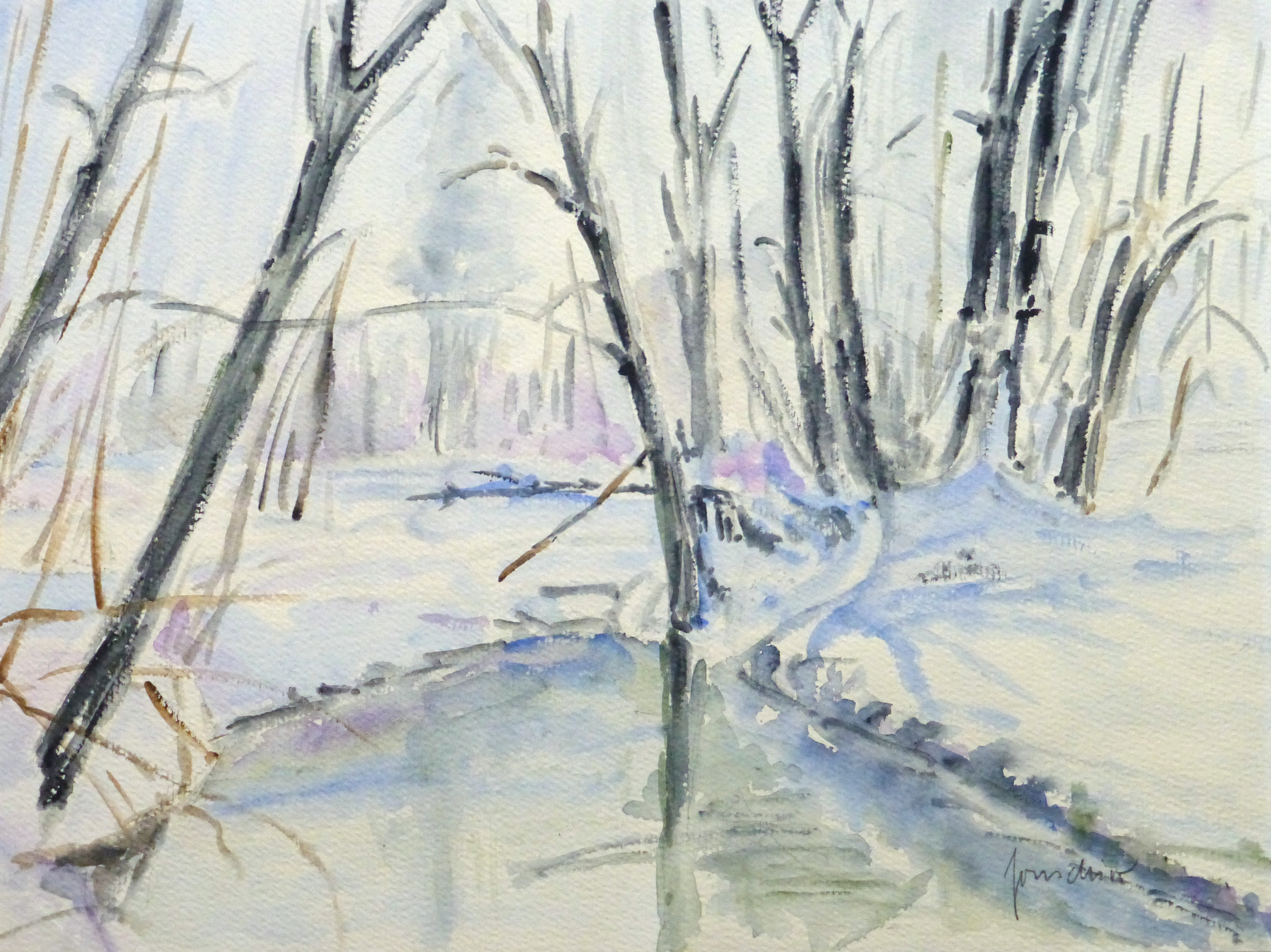 Watercolor Landscape- Winter Pond, 1990's-main-10717M