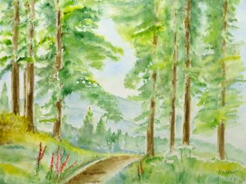 Watercolor Landscape - Mountain Spring Trail, 1982-main-10718M