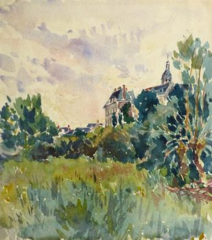 Watercolor Landscape - Country Estate, Circa 1930-main-10719M