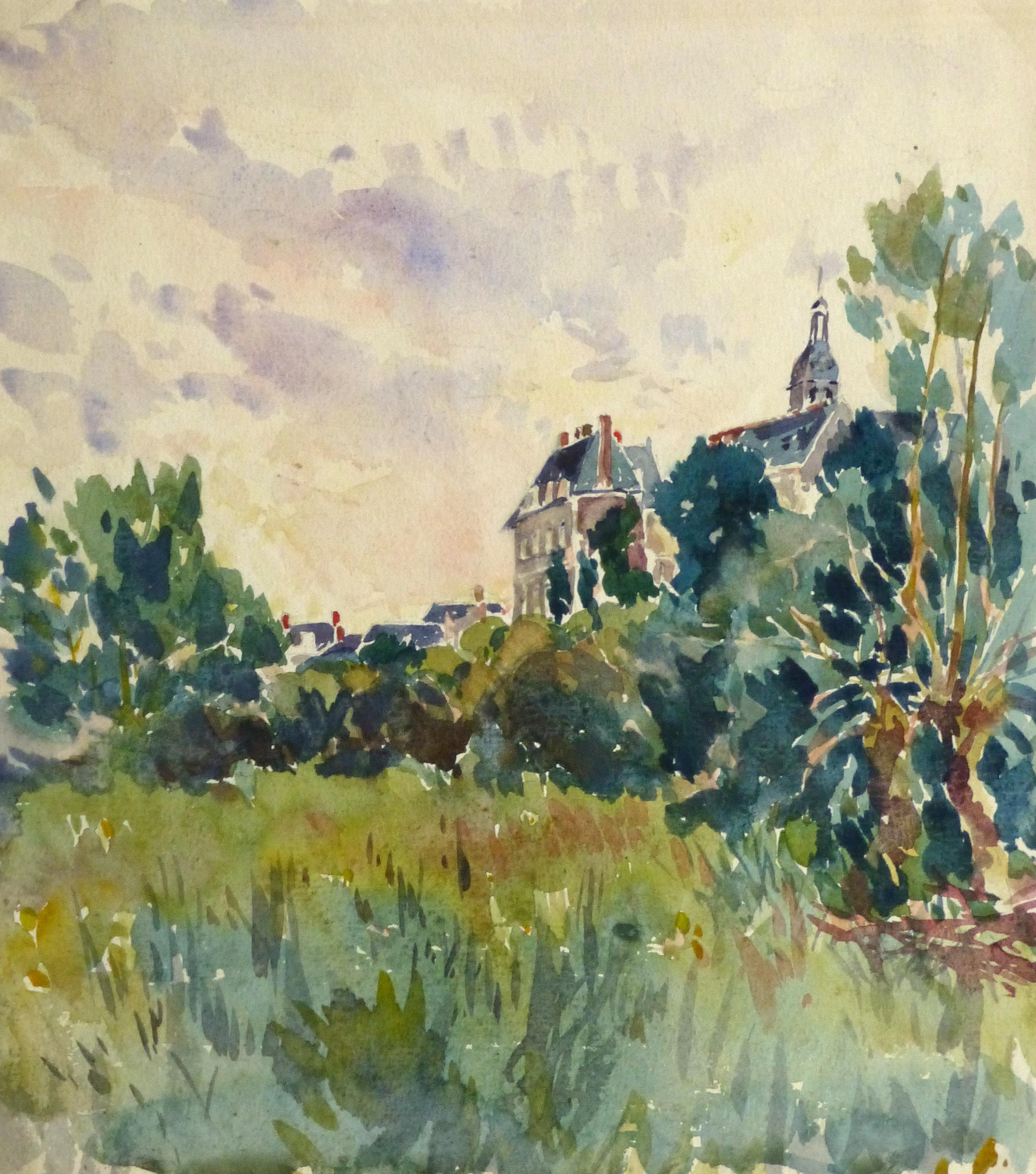 Watercolor Landscape - Country Estate, Circa 1930-main-10719M