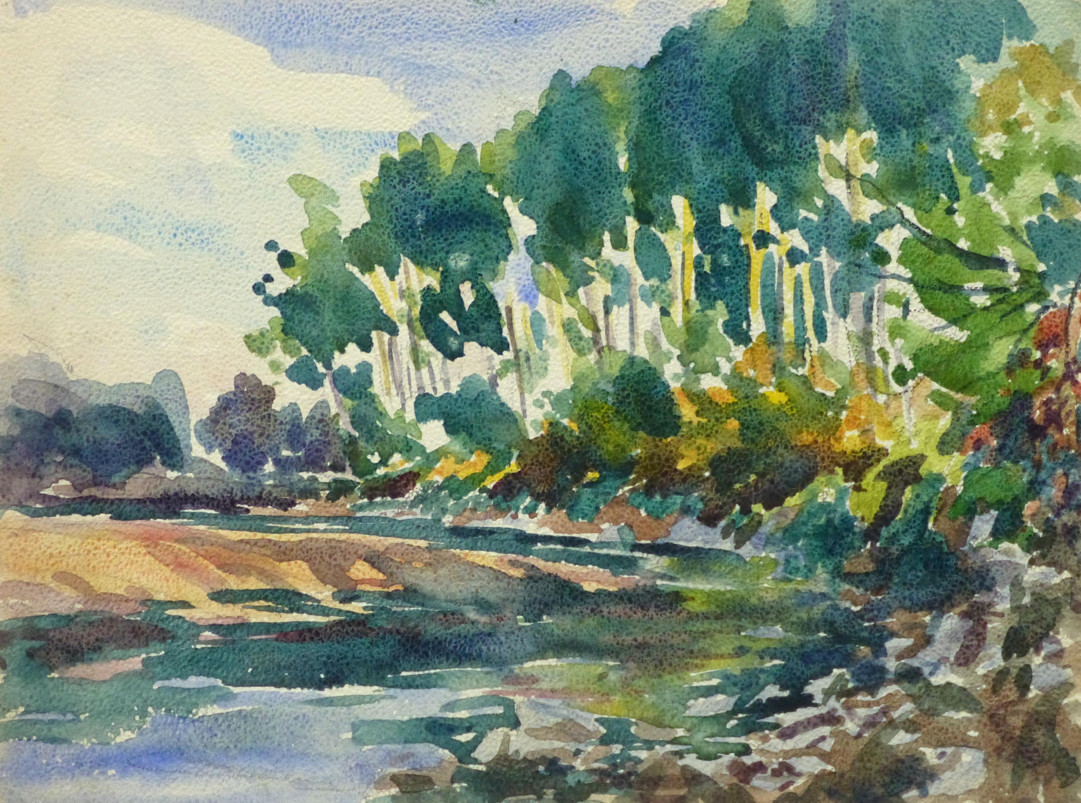 Watercolor Landscape - Winding River, Circa 1930-main-10720M