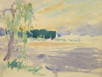 Watercolor Landscape - Lake's Edge, Circa 1930-main-10721M