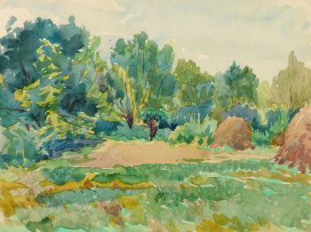 Watercolor Landscape - Hay Field, Circa 1930-main-10722M