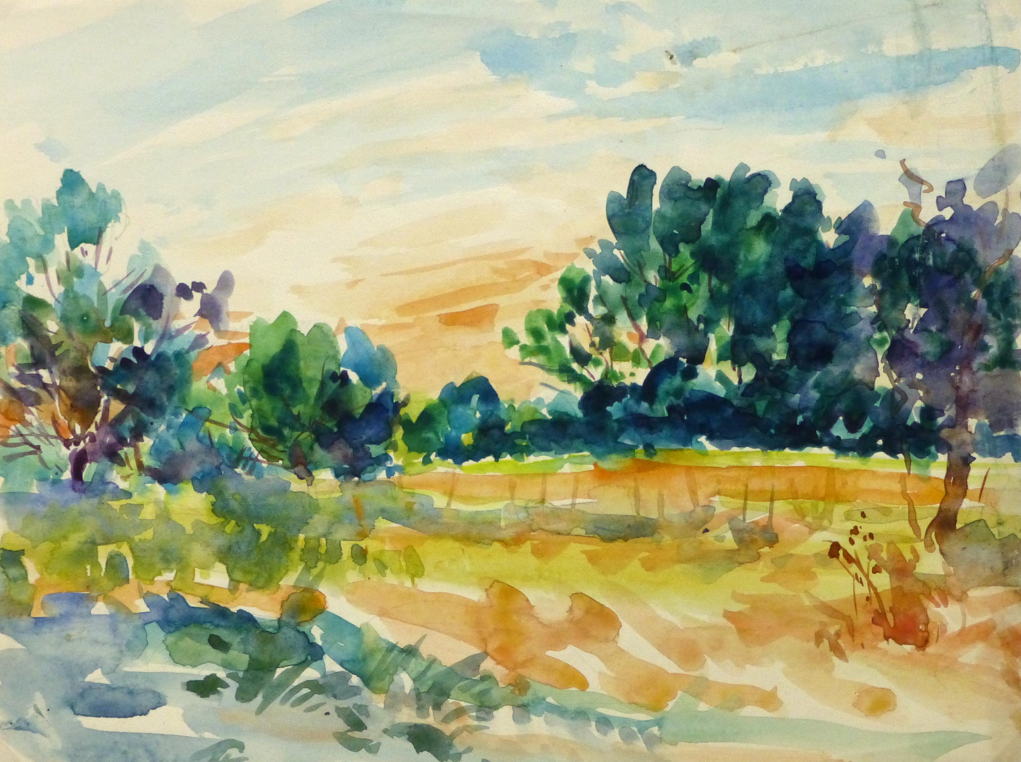 Watercolor Landscape - Farm Land, Circa 1930-main-10723M