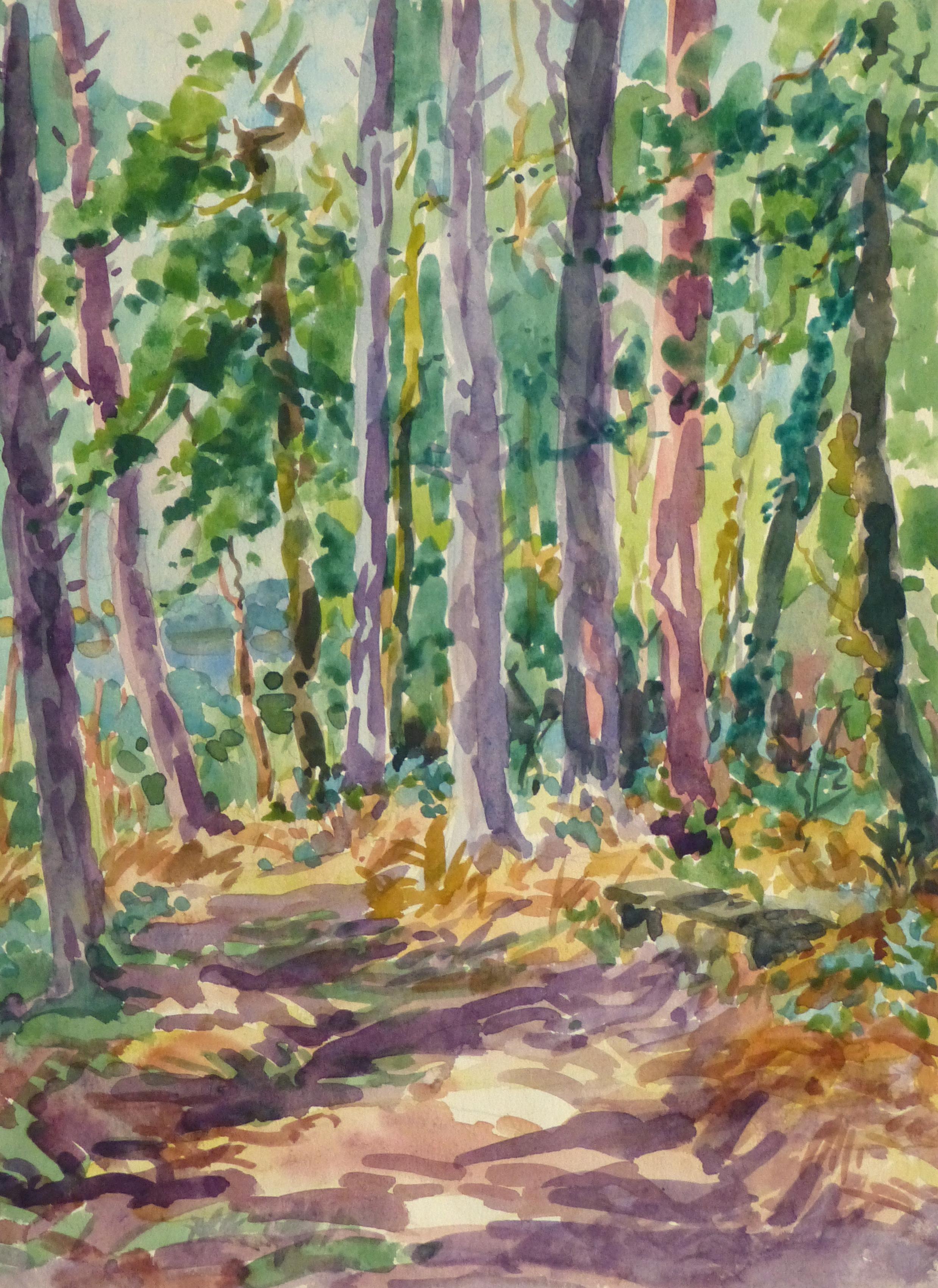 Watercolor Landscape - Deep Woods, Circa 1930-main-10724M