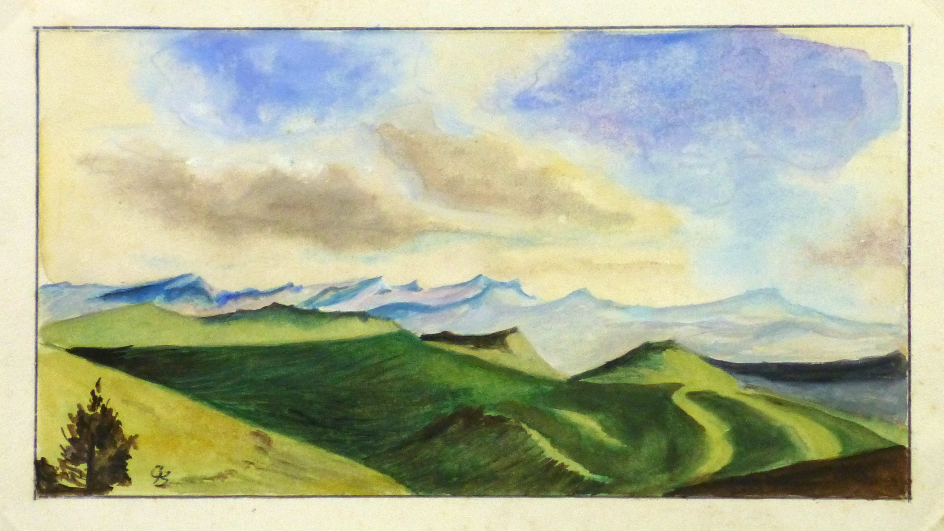 Watercolor Landscape - Mountain Overlook, 1980's-main-10725M