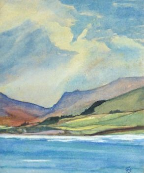 Watercolor Landscape - Mountain Shores, 1980's-main-10726M