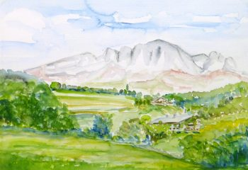Watercolor Landscape- Mountain Cabins, 1982-main-10727M