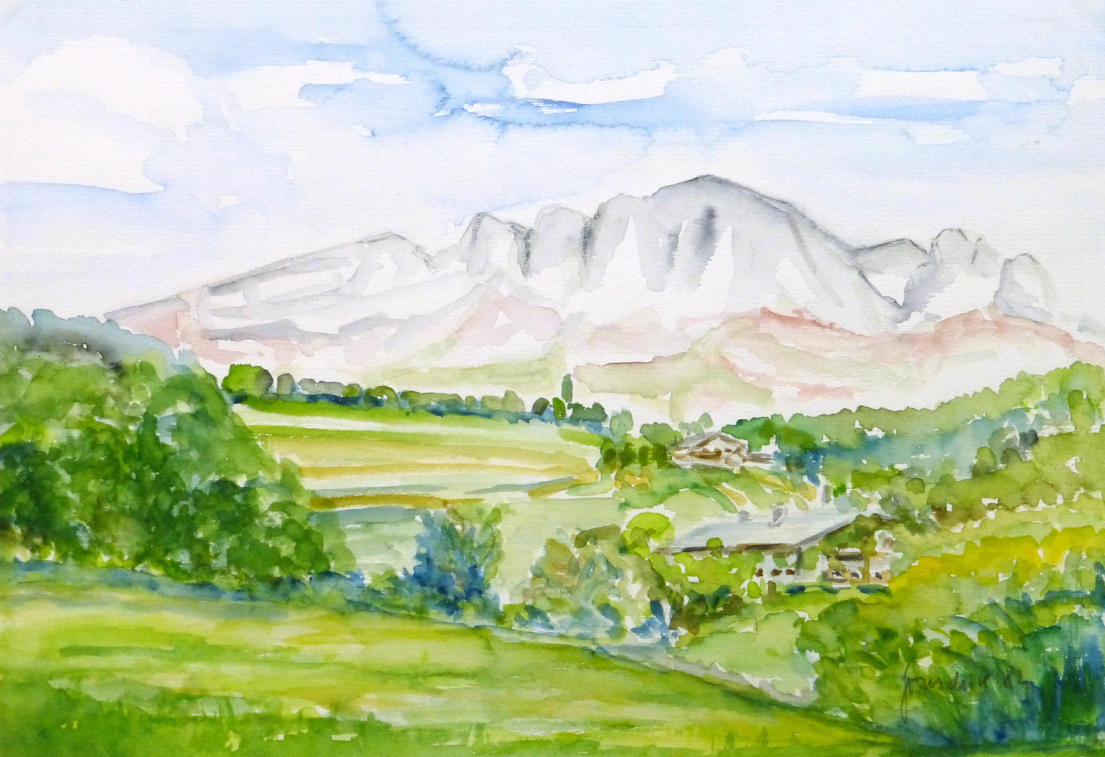 Watercolor Landscape- Mountain Cabins, 1982-main-10727M