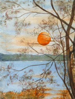 Watercolor Landscape- Twilight Lake, Circa 1970-main-10728M