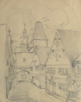 Pencil Drawing - Village Street, Circa 1930-main-10737M