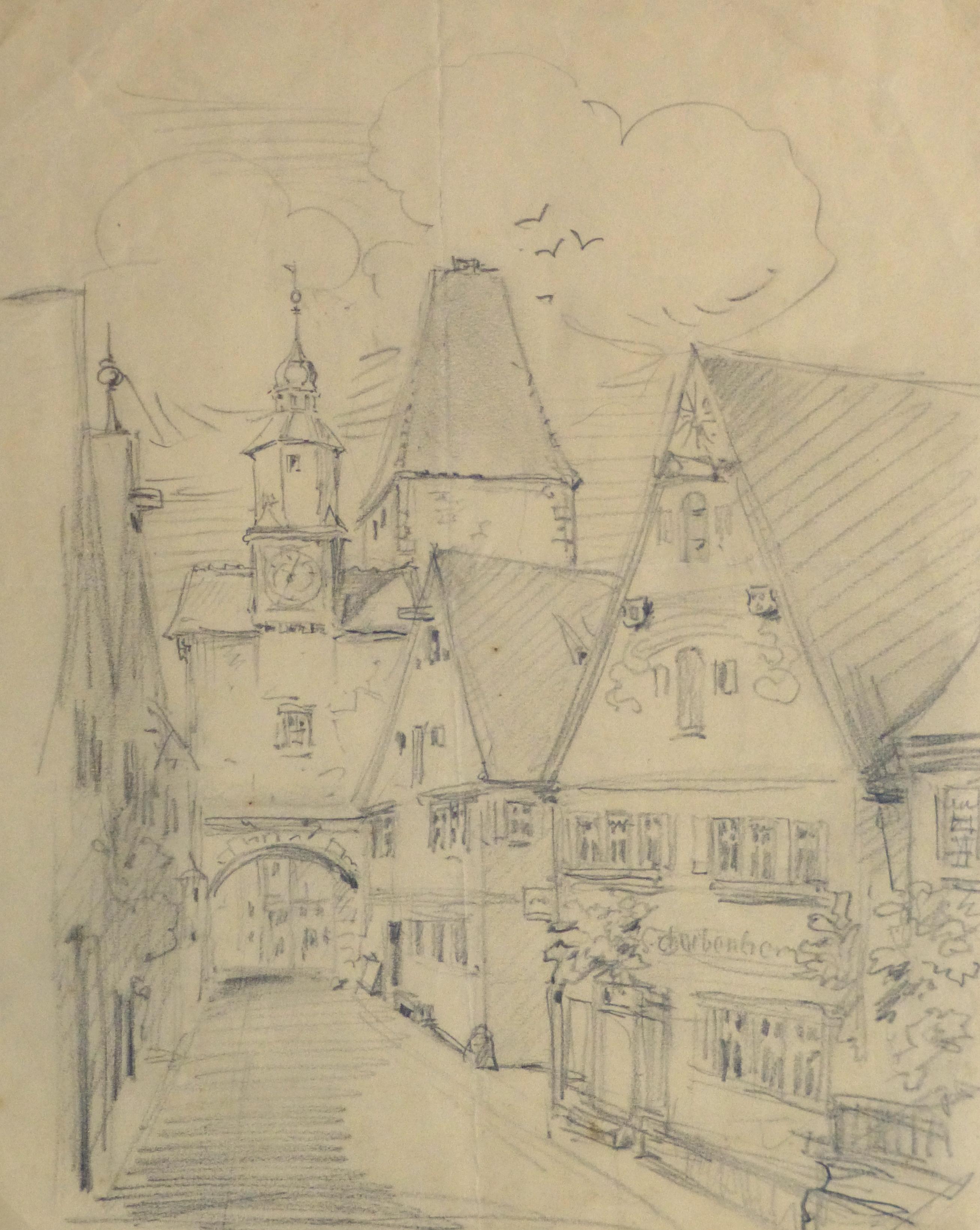 Pencil Drawing - Village Street, Circa 1930-main-10737M