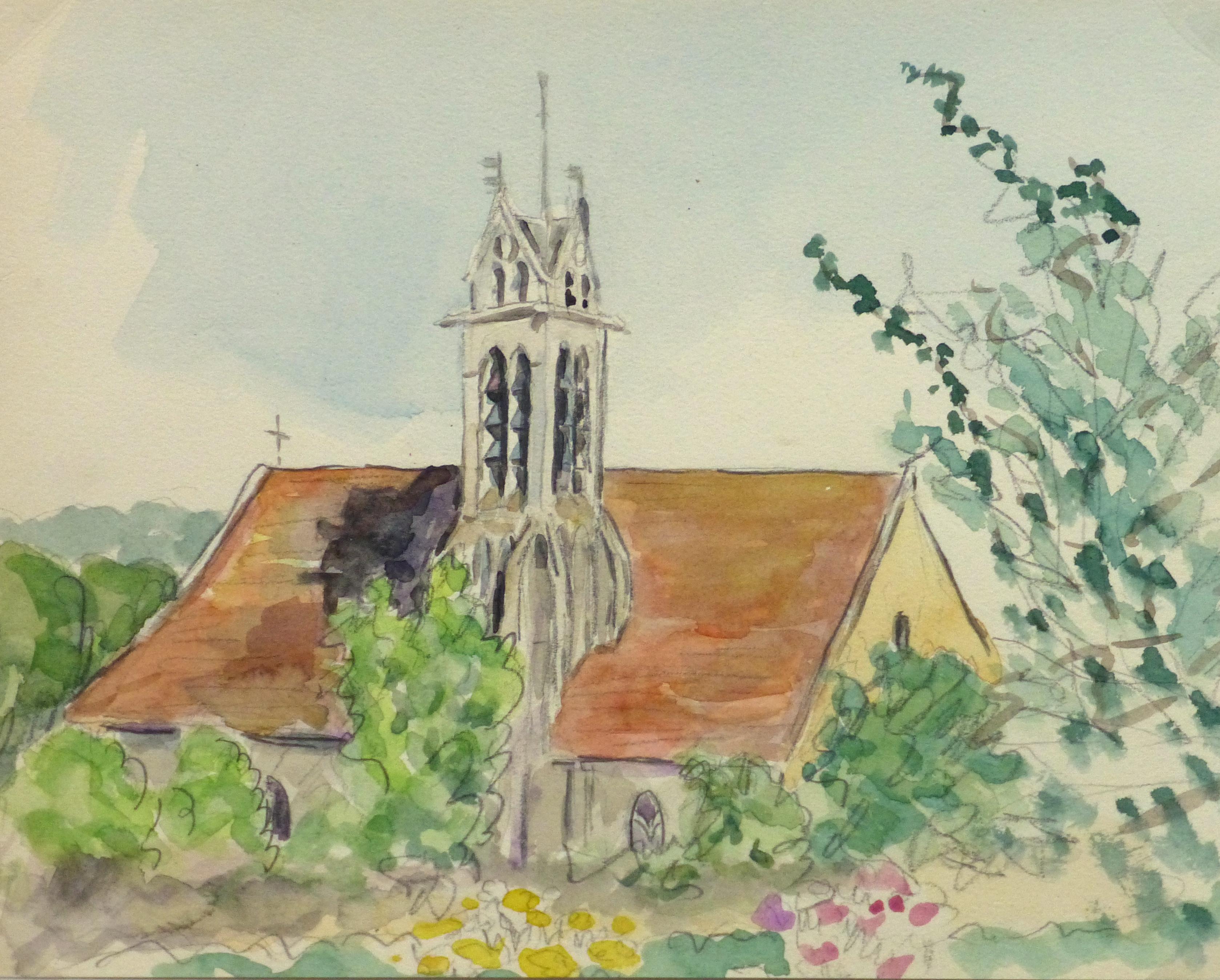Watercolor Landscape - Rural Church, Circa 1930-main-10738M