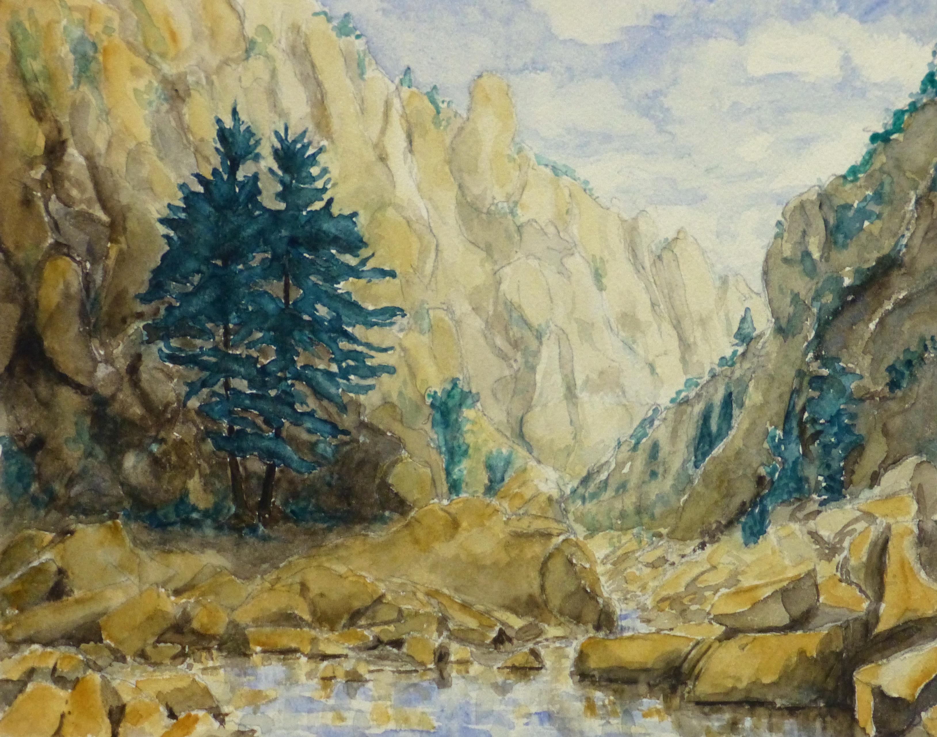 Watercolor Landscape - Mountain Stream, Circa 1960-main-10739M