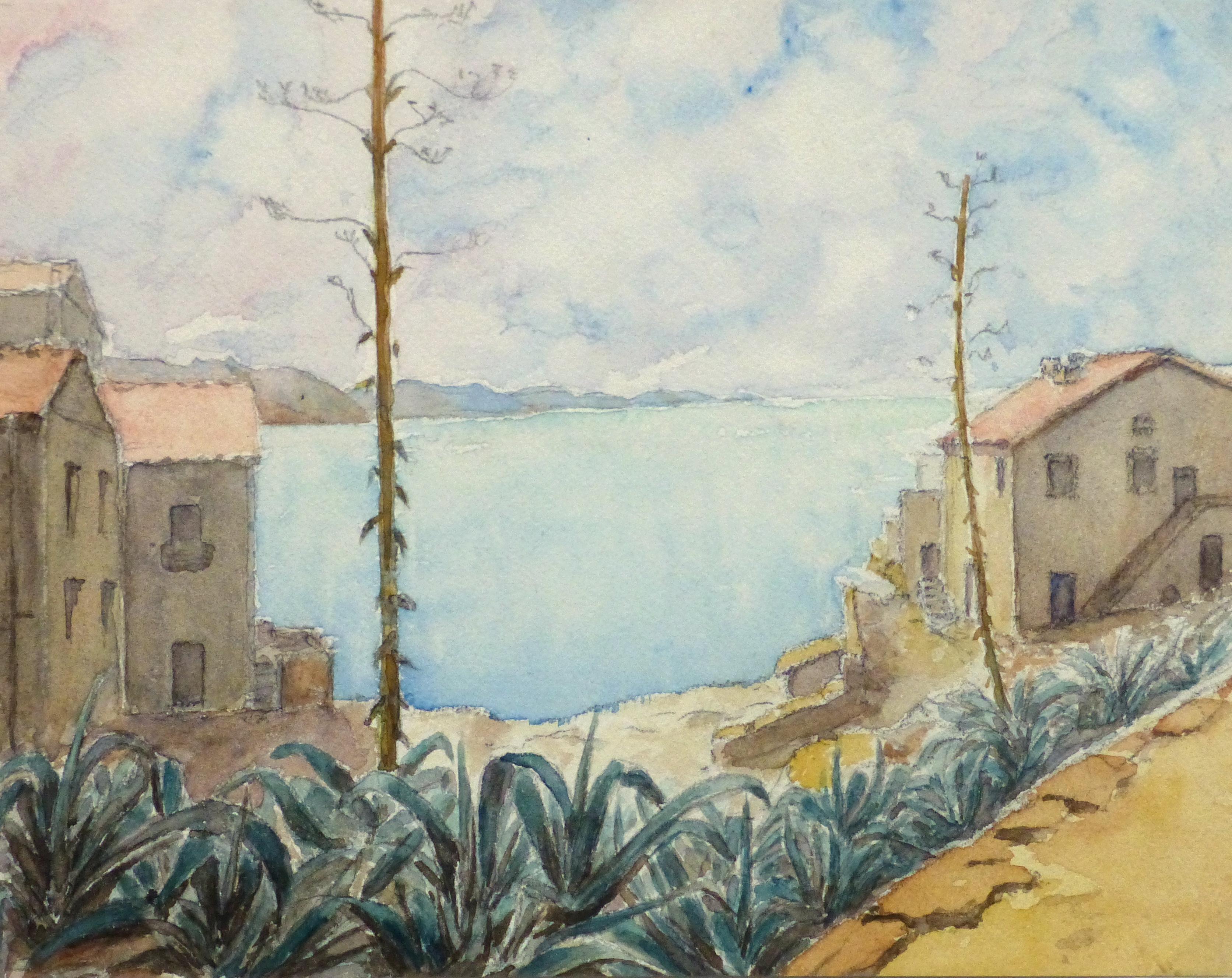 atercolor Landscape - Bayside Villas, Circa 1930-main-10740M