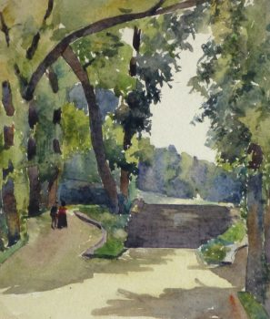 Watercolor Landscape - Paris Park, Circa 1930-main-10742M