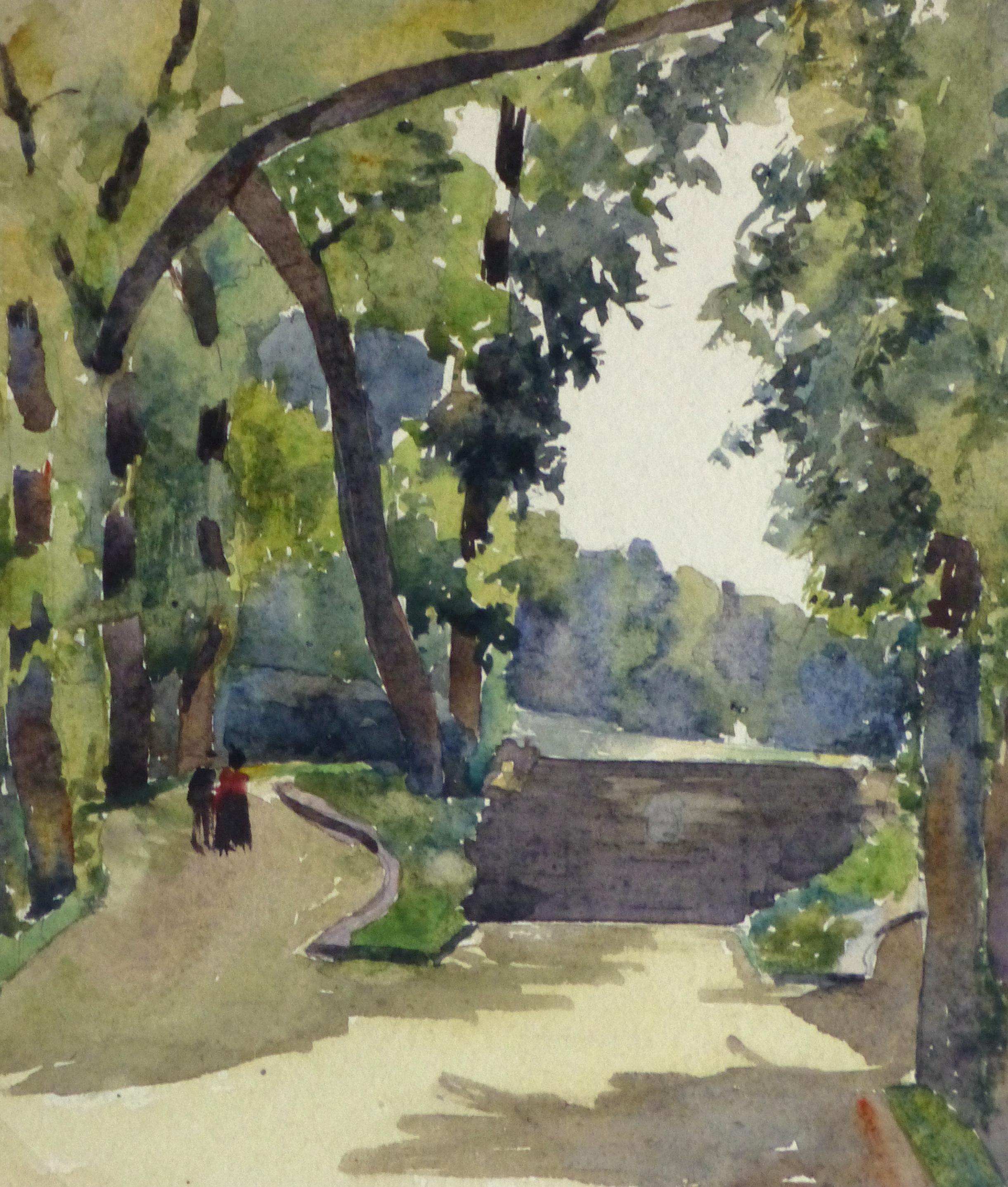 Watercolor Landscape - Paris Park, Circa 1930-main-10742M