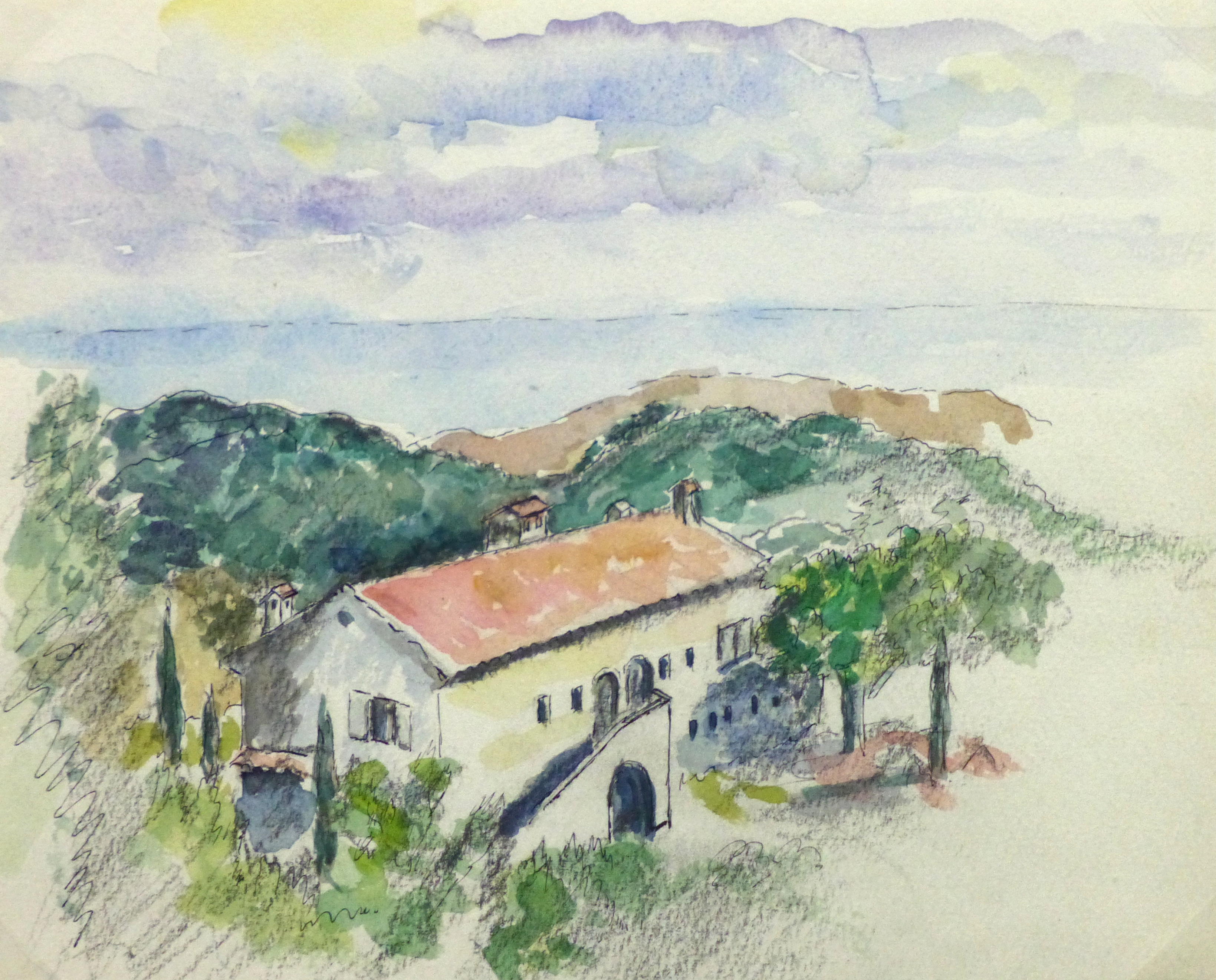 Watercolor Landscape - French Riviera, 1990's-main-10743M