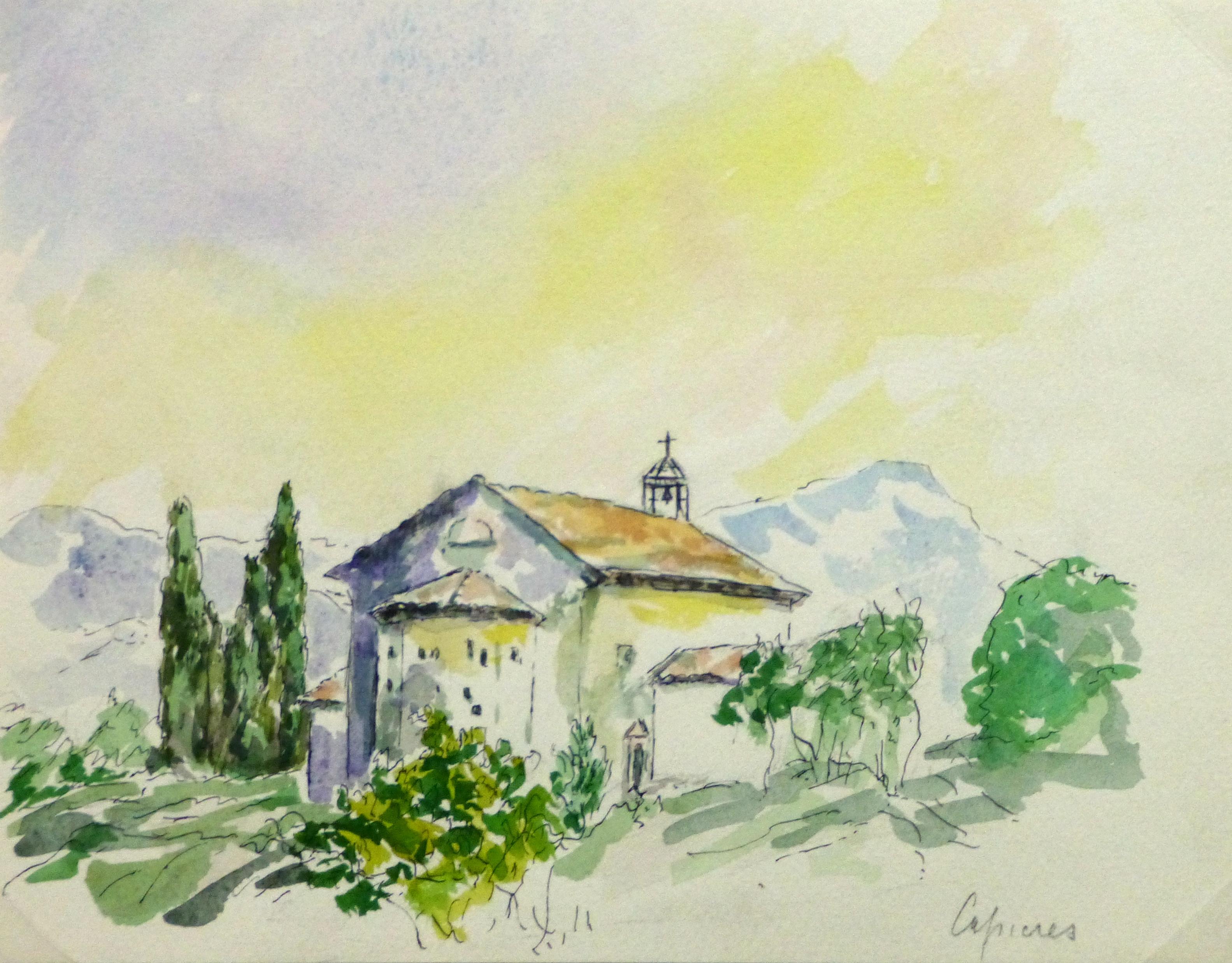 Watercolor Landscape - Cipieres, France-main-10744M