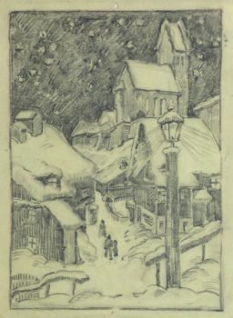Pencil Drawing - Winter Village, Circa 1930-main-10745M