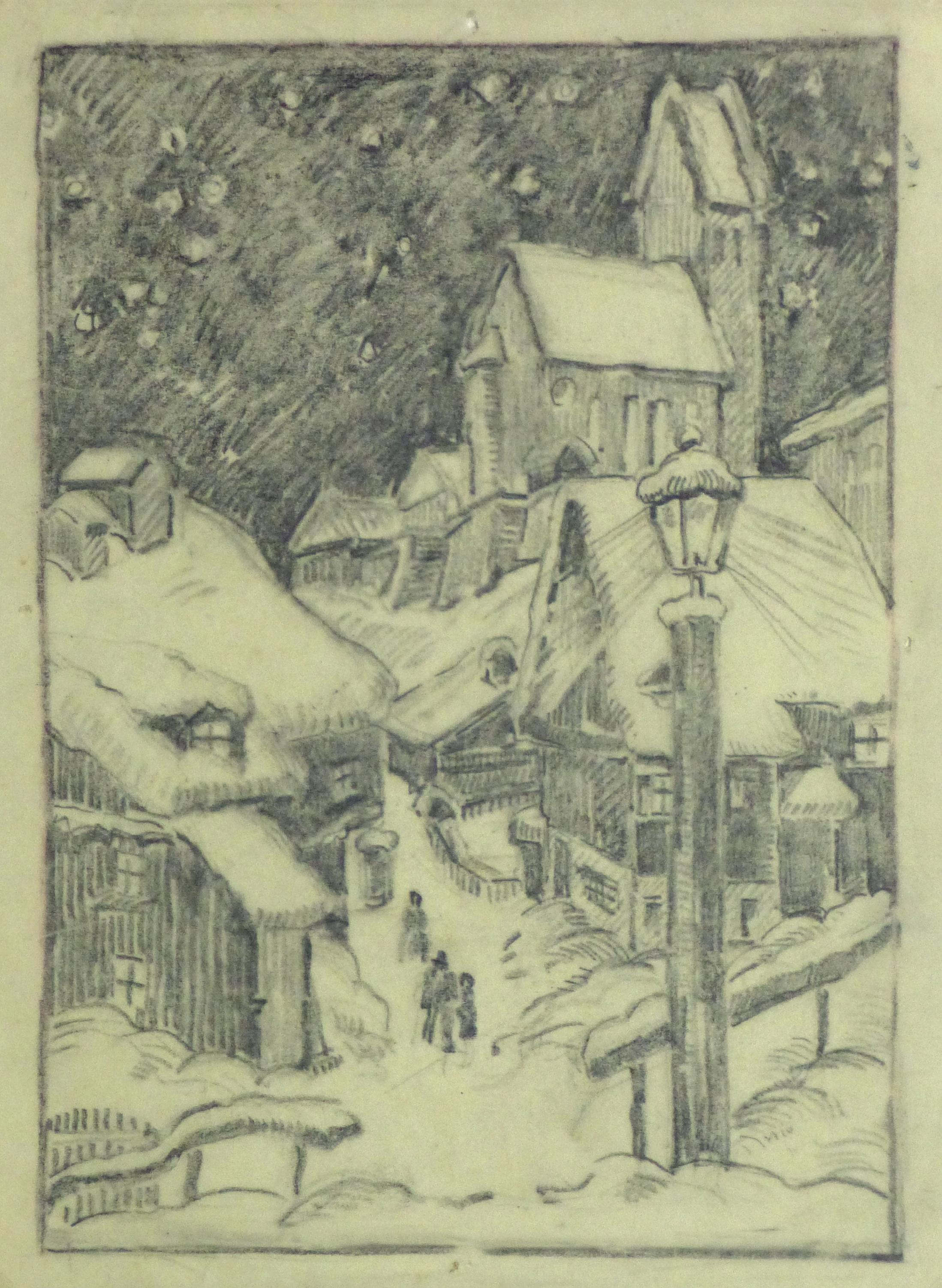 Pencil Drawing - Winter Village, Circa 1930-main-10745M