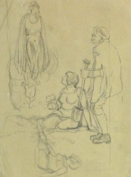 Pencil Drawing - Medieval Figures, Circa 1930-main-10746M