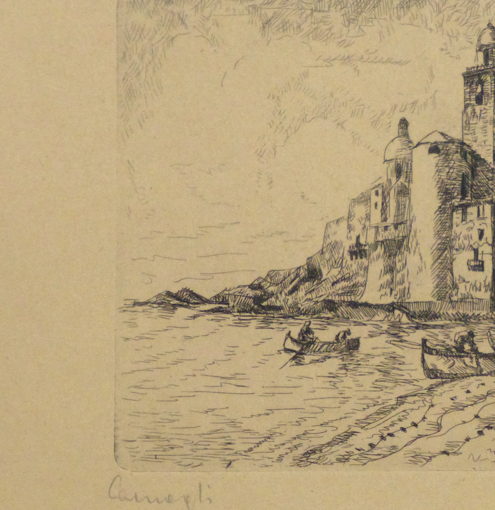 Etching - Distant Shores, 1946-detail 2-10757M