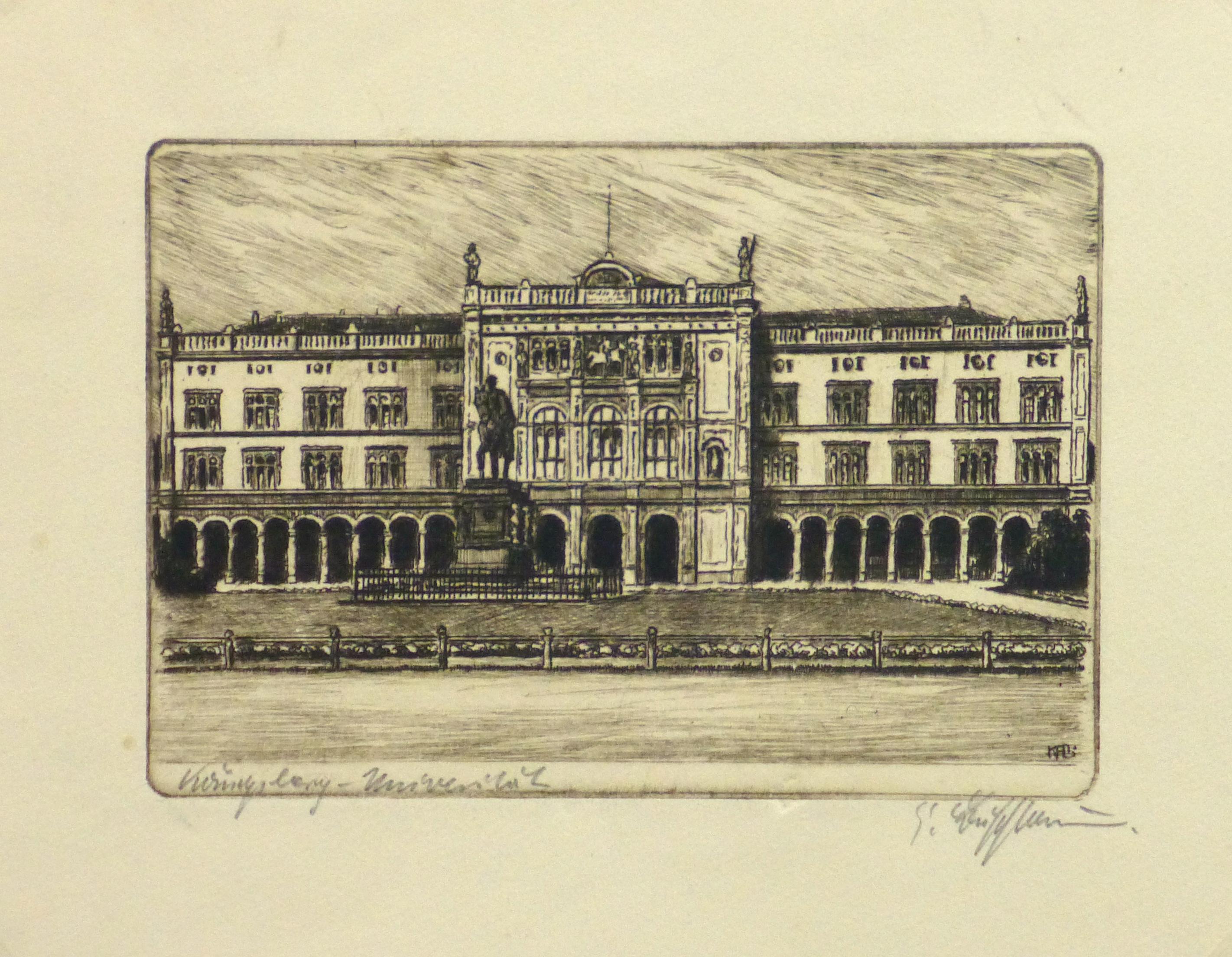 Etching - Stately Architecture, Circa 1950-main-10758M