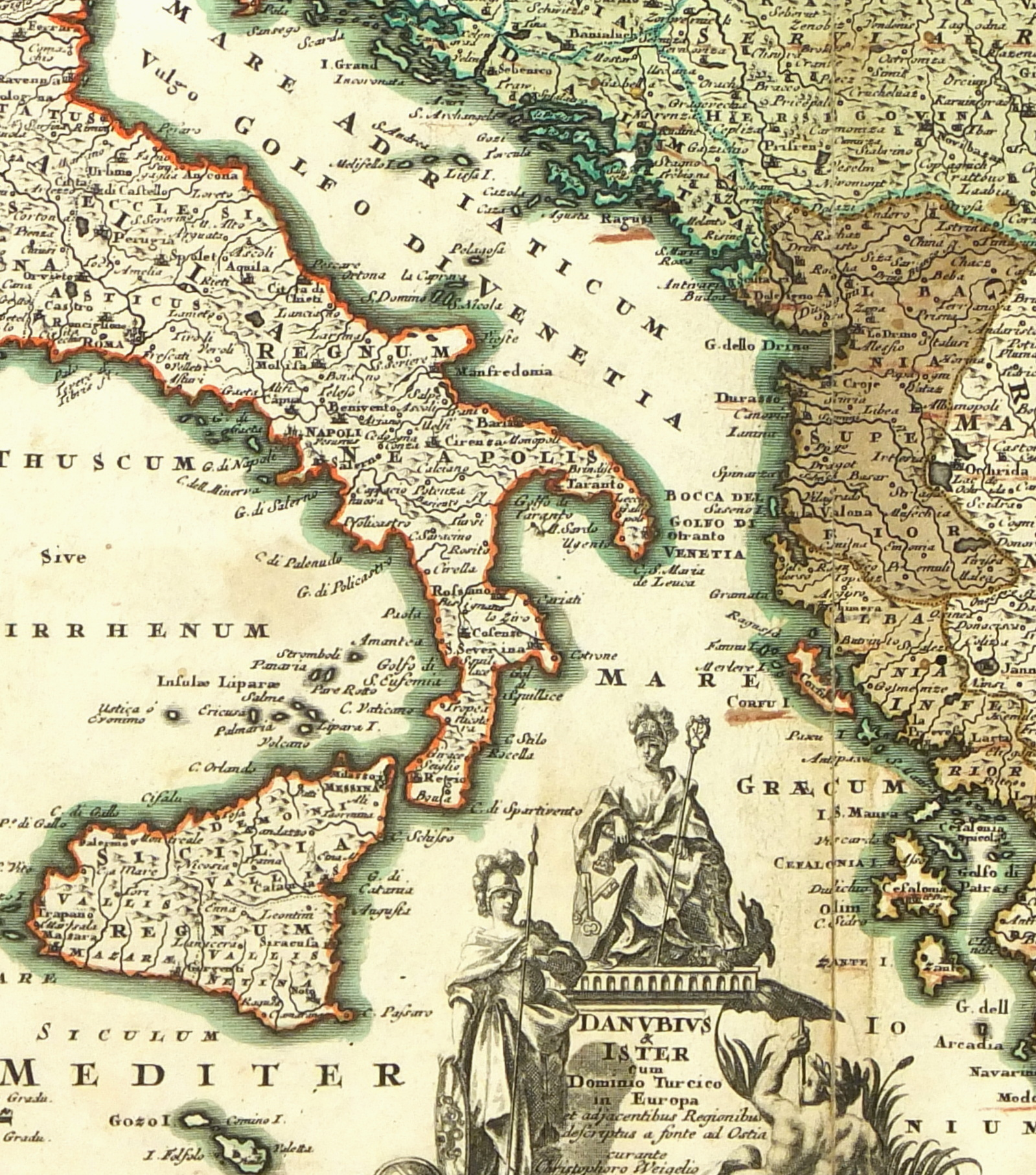 Map of Italy to Greece, 1724 - Original Art, Antique Maps & Prints
