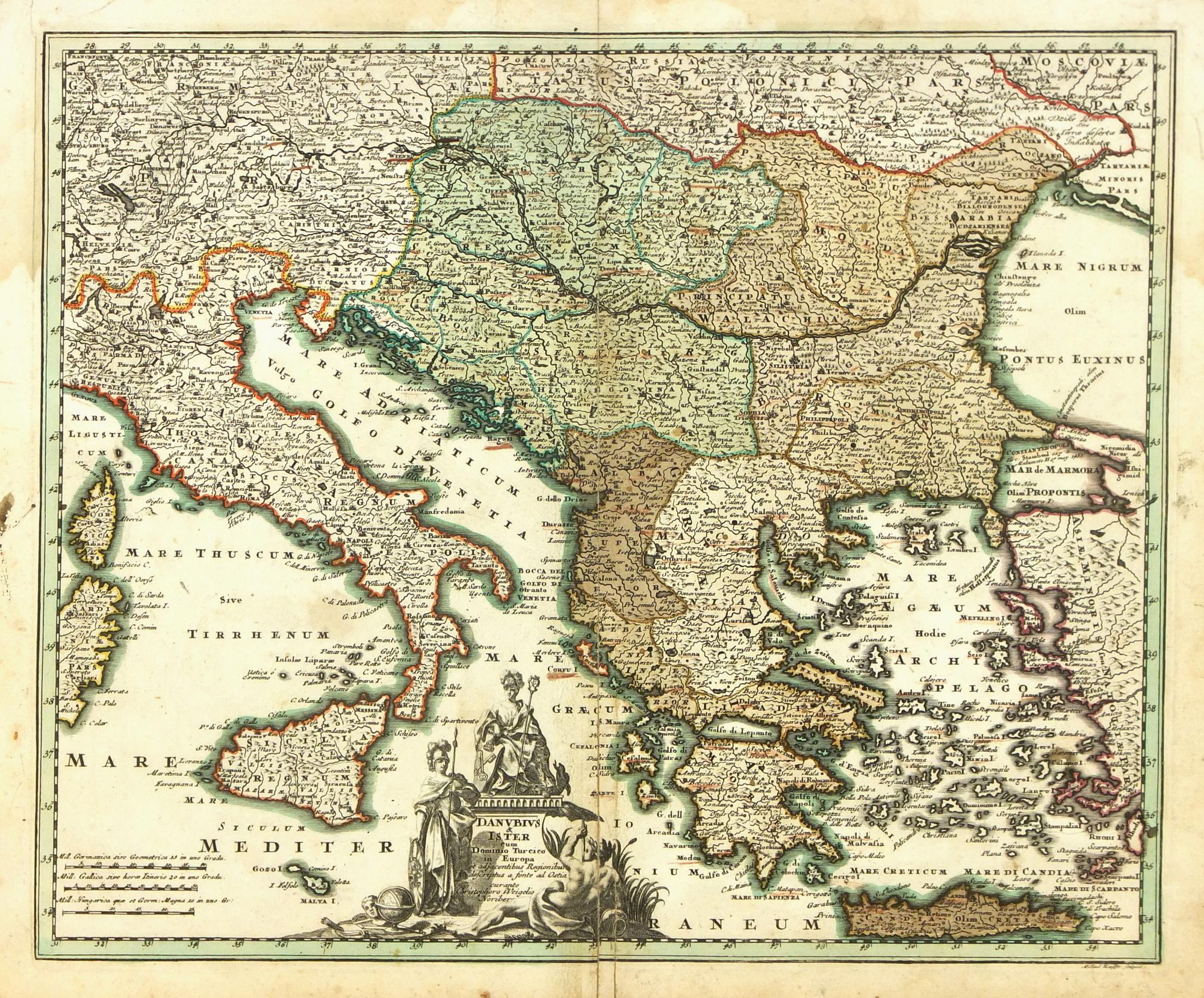 Map of Italy to Greece, 1724 - Original Art, Antique Maps & Prints