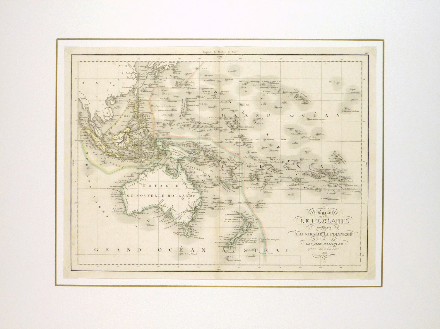 Australia & Polynesia Map, 1838-matted-8076k