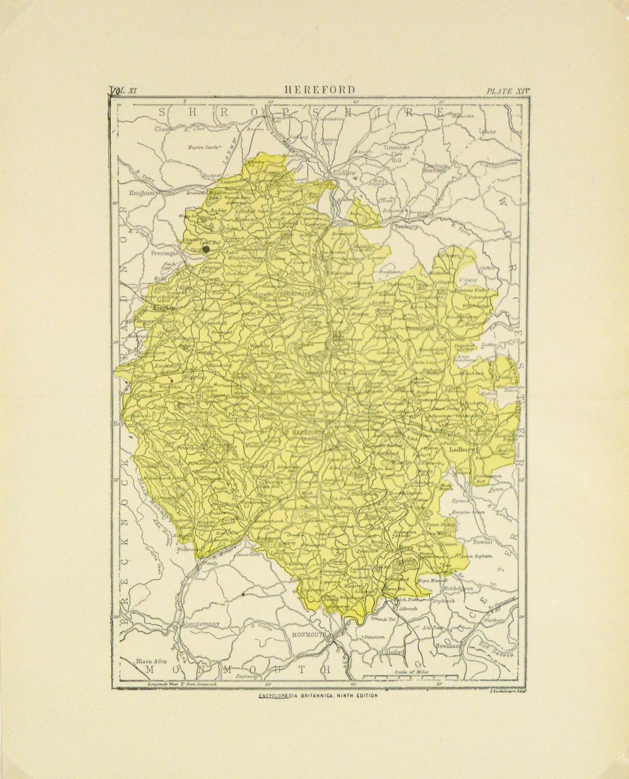 Hereford, England Map, Circa 1880-main-8188K