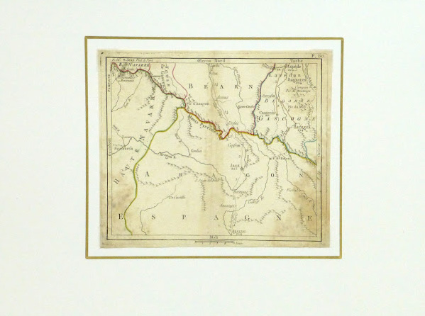 Map of the Pyrenees, Circa 1750-matted-9433K