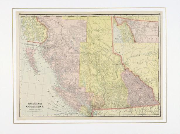 British Columbia, Canada Map, 1916-matted-9458K
