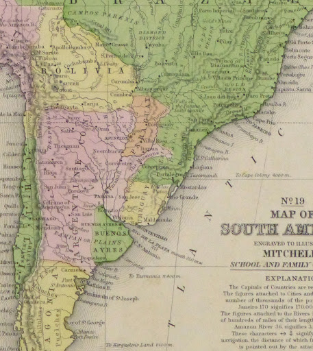 South America Map 1860 Original Art Antique Maps Prints