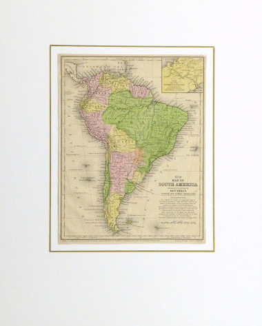 South America Map, 1860-matted-9477K
