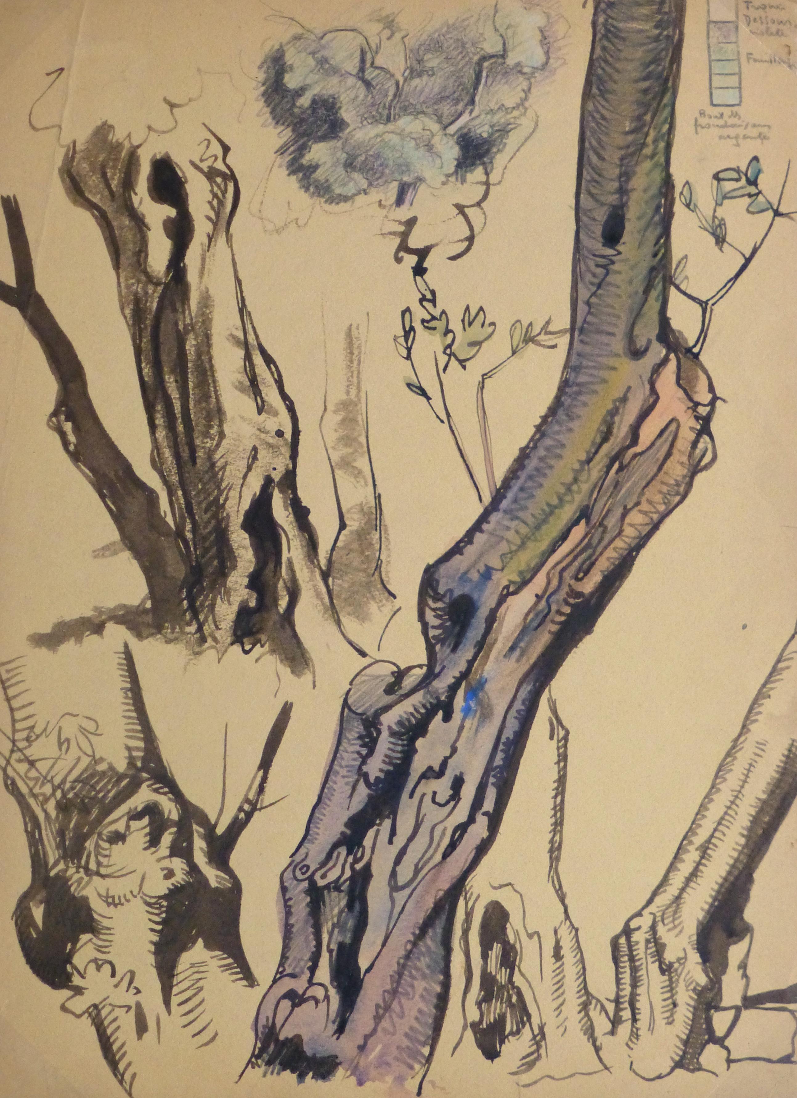 Ink Wash - Tree Study, Circa 1930-main-kla2418