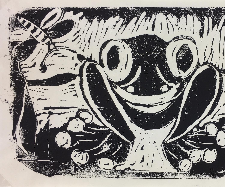 Animals Original Art - Linocut - Frog, c.1960