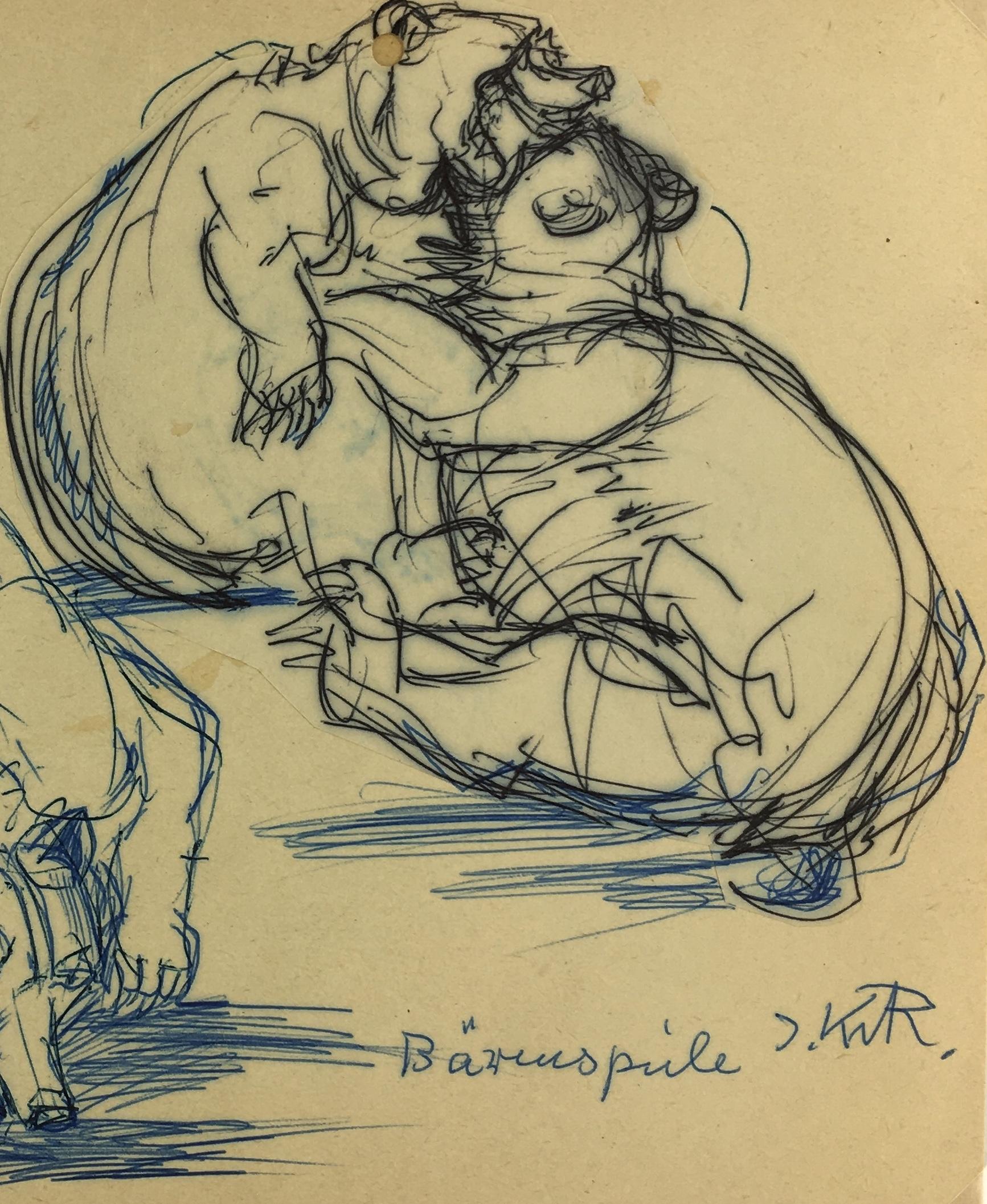 Animals Original Art - Bears, Irmgard von Reppert, 1965