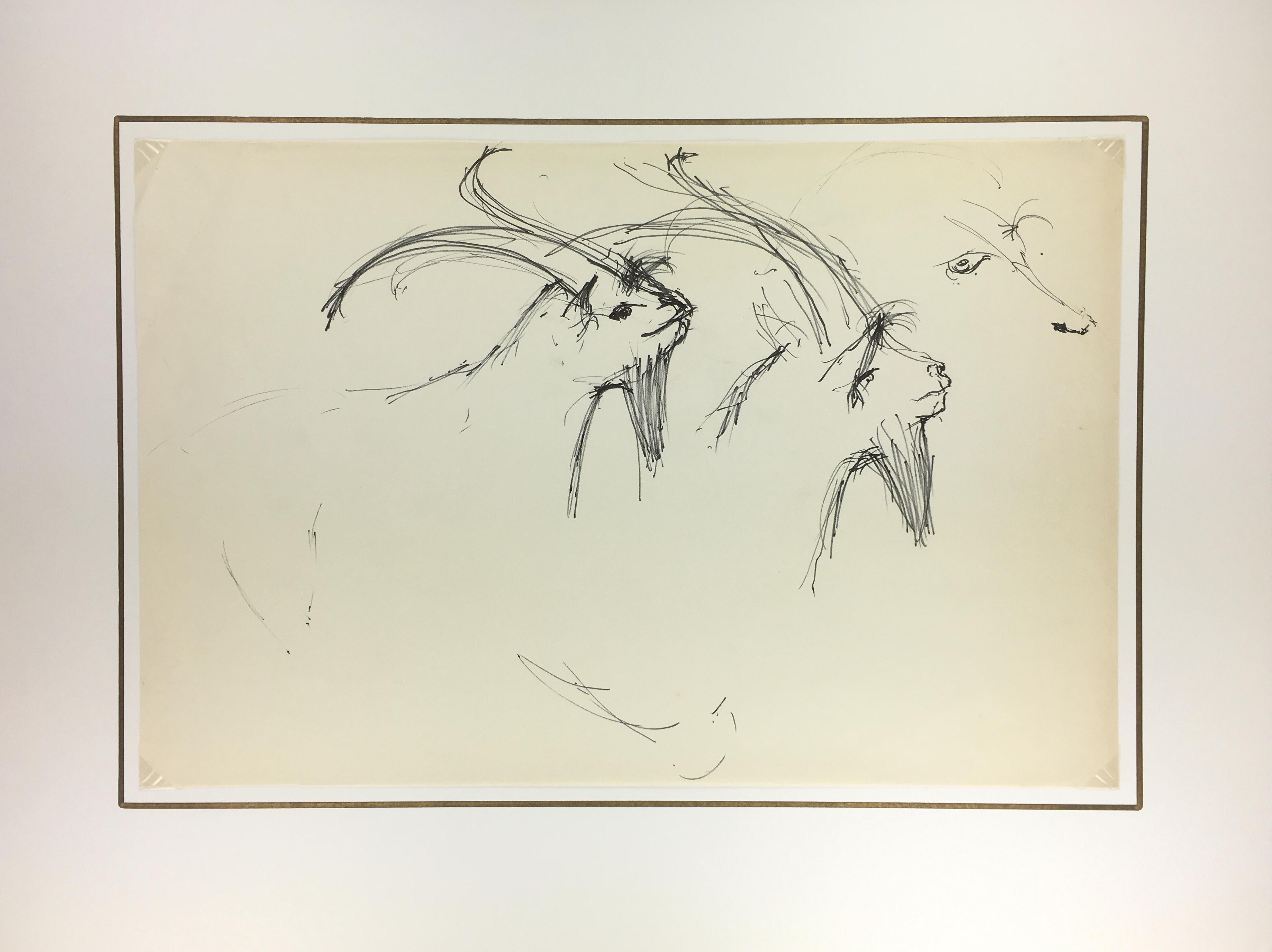 Animals Original Art - Goats, Schwerb, c.1960