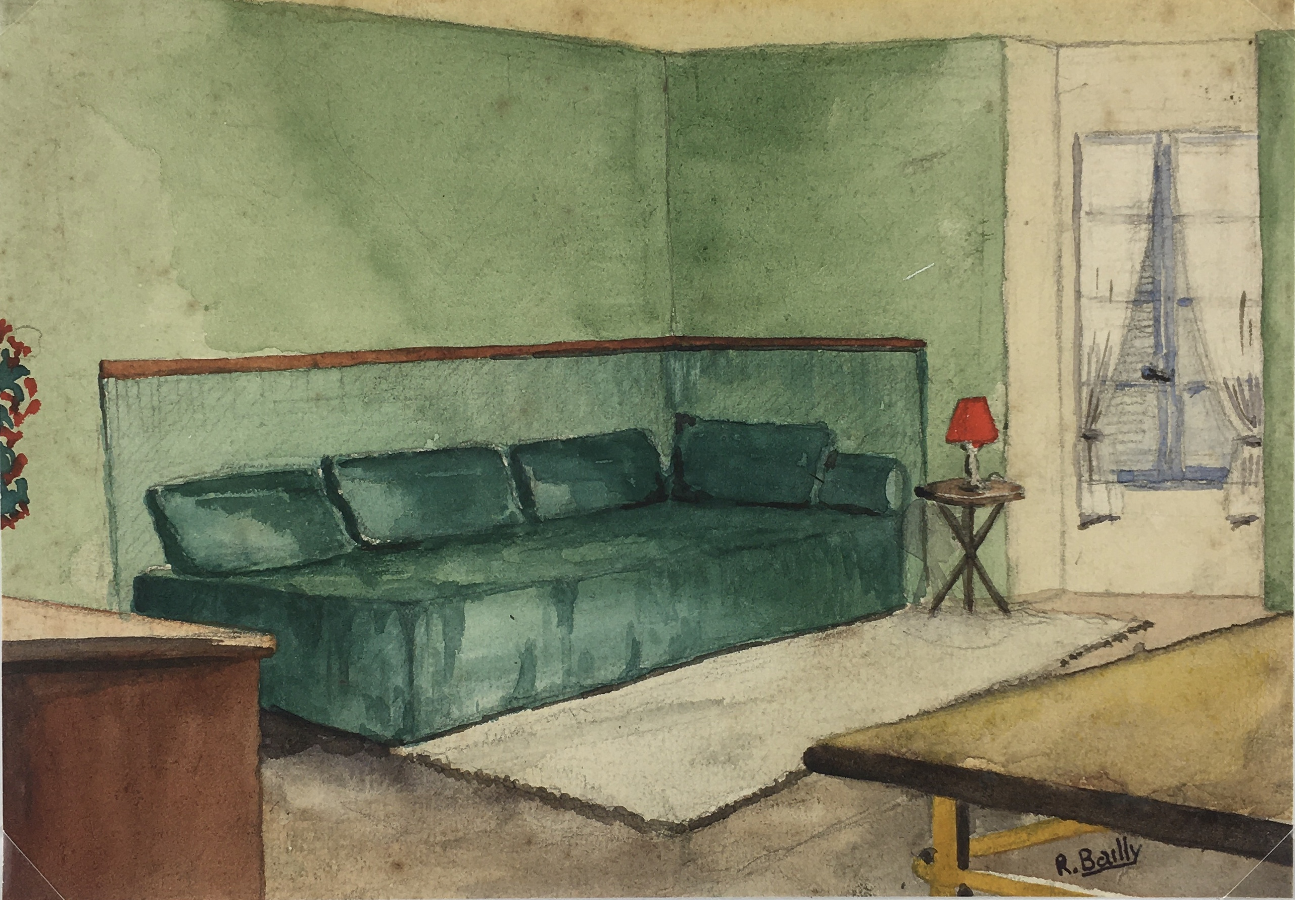 Architecture Original Art - Daybed, R. Bailly, c.1960